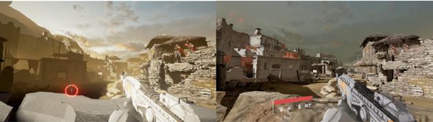 图4  优化前(左)后(右)的游戏截图